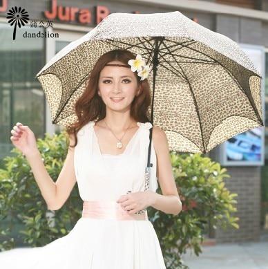 Dancingly apollo leopard print umbrella poleaxe double layer sun umbrella anti-uv protection elegant princess umbrella