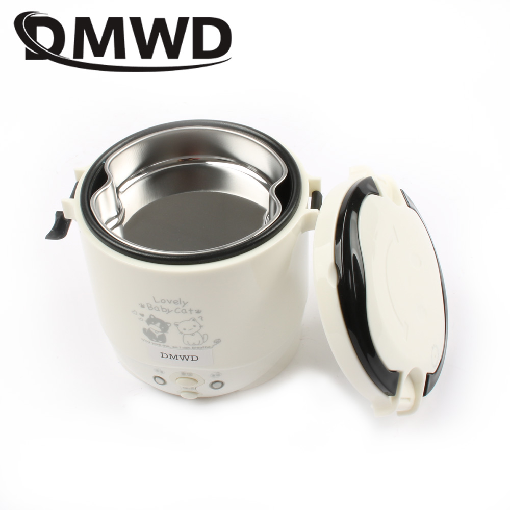 DMWD MINI rice cooker 1L portable electric Lunch Box heating steamer cabinet Food Container travel offce home 110V 220V EU US dmwd mini rice cooker insulation heating electric lunch box 2 layers portable steamer multifunction automatic food container eu