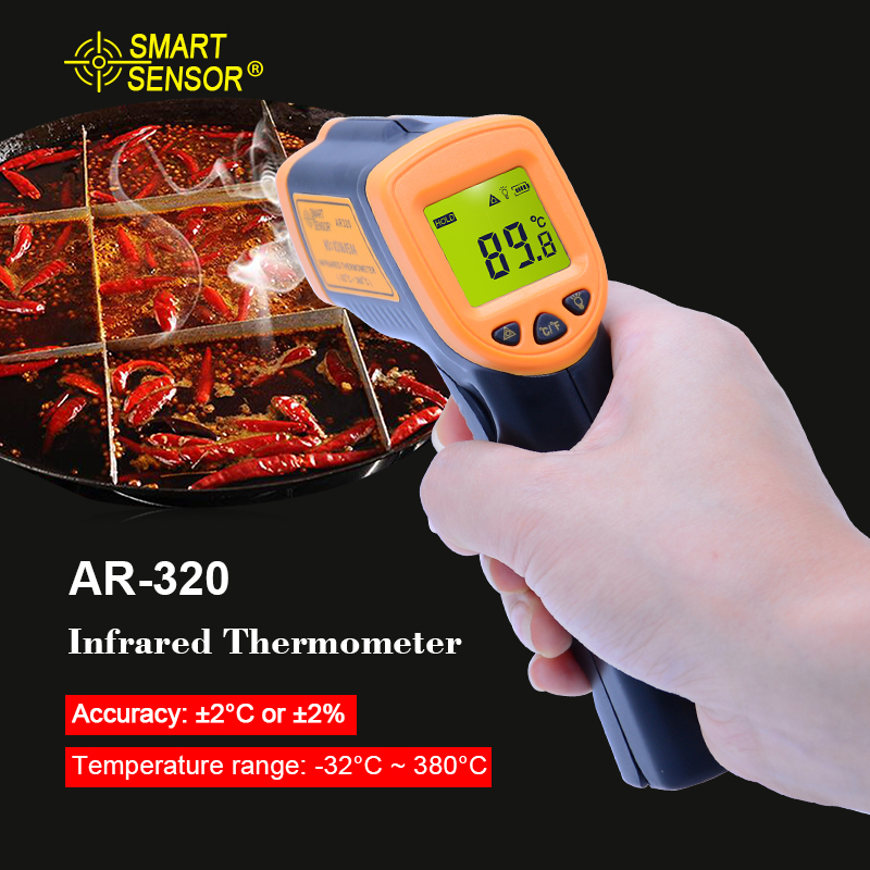 цены LDC IR Display Digital Infrared Thermometer AR320 -32~380C(-26~716F) Non-Contact IR Laser Point Gun Pyrometer