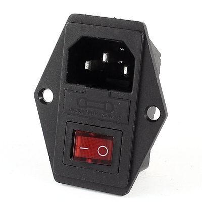 Black IEC320 C14 Inlet Module Plug Switch Male Power Socket w 3-Pin Switch free shipping iec 320 c14 to saa australia 3 pin female power adapter for pdu ups ac plug converter wpt604
