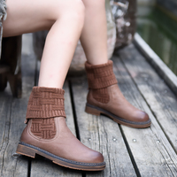 Artmu Fashion Women Boots Warm Knitted Boots Sock Shoes Woman Genuine Leather Boot Two Way Wearing Style Foldaway Boots Sneakers