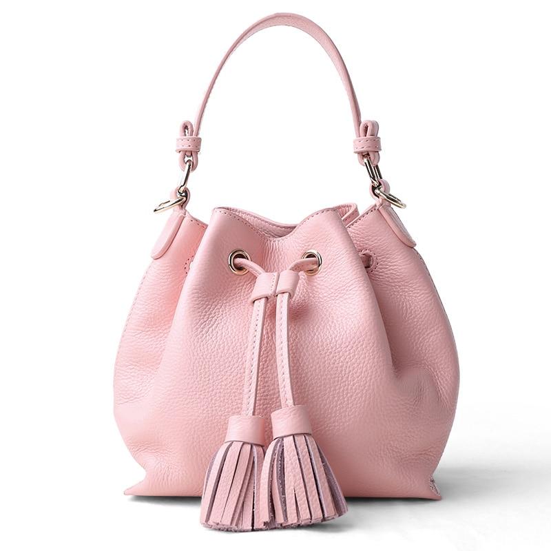 High Quality Girls Fashion Sexy Mini Tassel Handbag Lady Cowskin Genuine Leather Strap Crossbody Shoulder Bag Women Bucket Totes high quality tassel 100