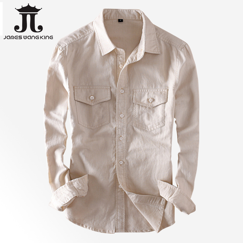 New Cotton Linen Shirts Men Casual Long Sleeve Double Pocket White Shirt For Man Soft Breathable Shirts Camisa Masculina