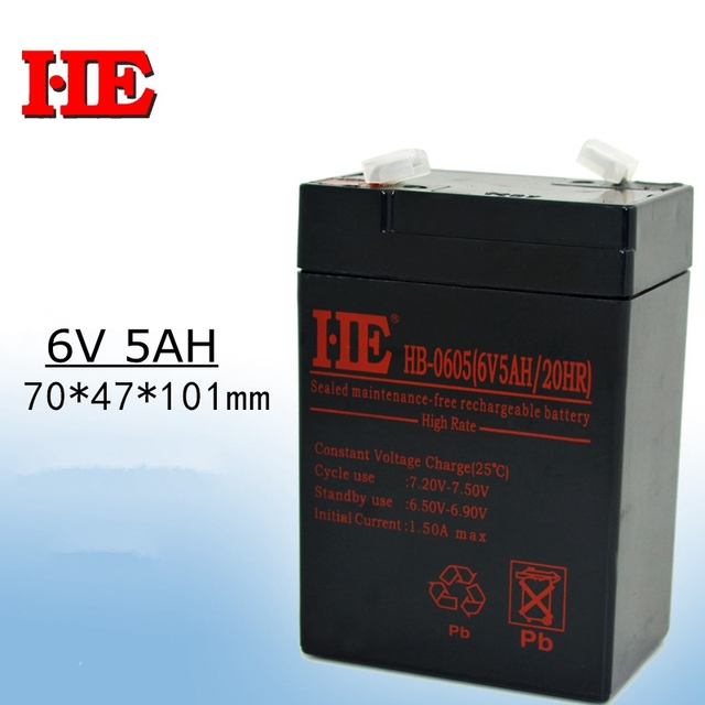 New 6v 5ah 20HR rechargeable battery lead acid toy car battery fire emergency light baby carrier battery replace 4ah 4.5ah 5ah