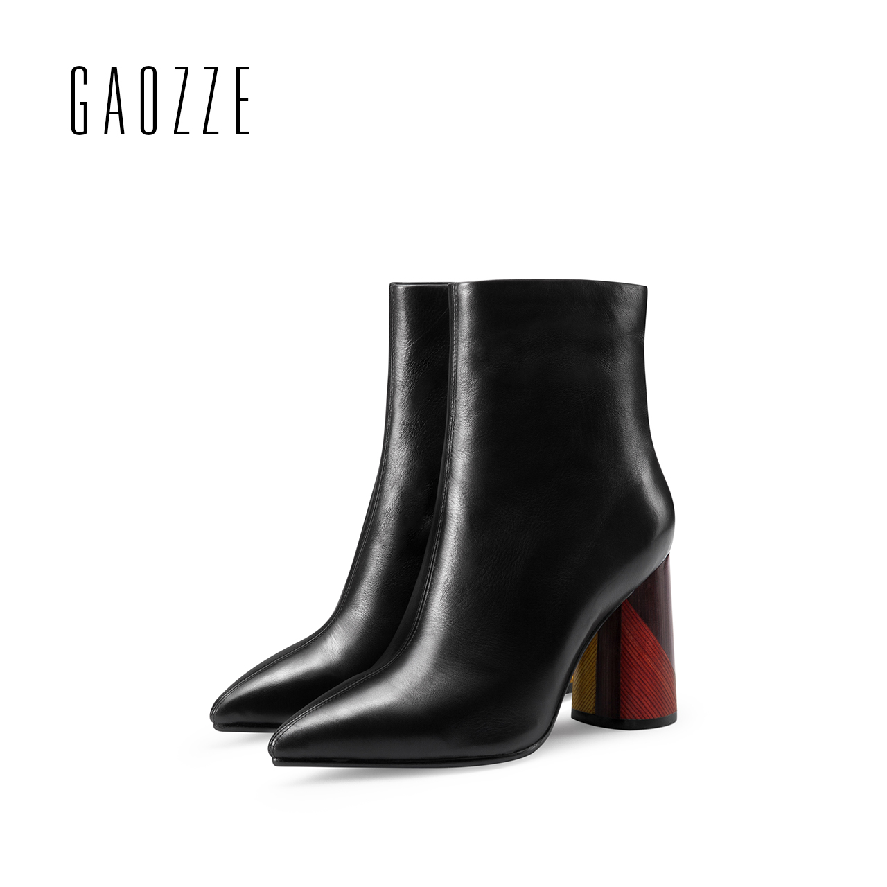 GAOZZE women boots genuine leather pointed high-heeled ankle boots for women side zipper thick heel women boots 2017 autumn new czrbt genuine leather boots women fashion pointed toe thick heel high heel boots spring autumn cow leather women chelsea boots