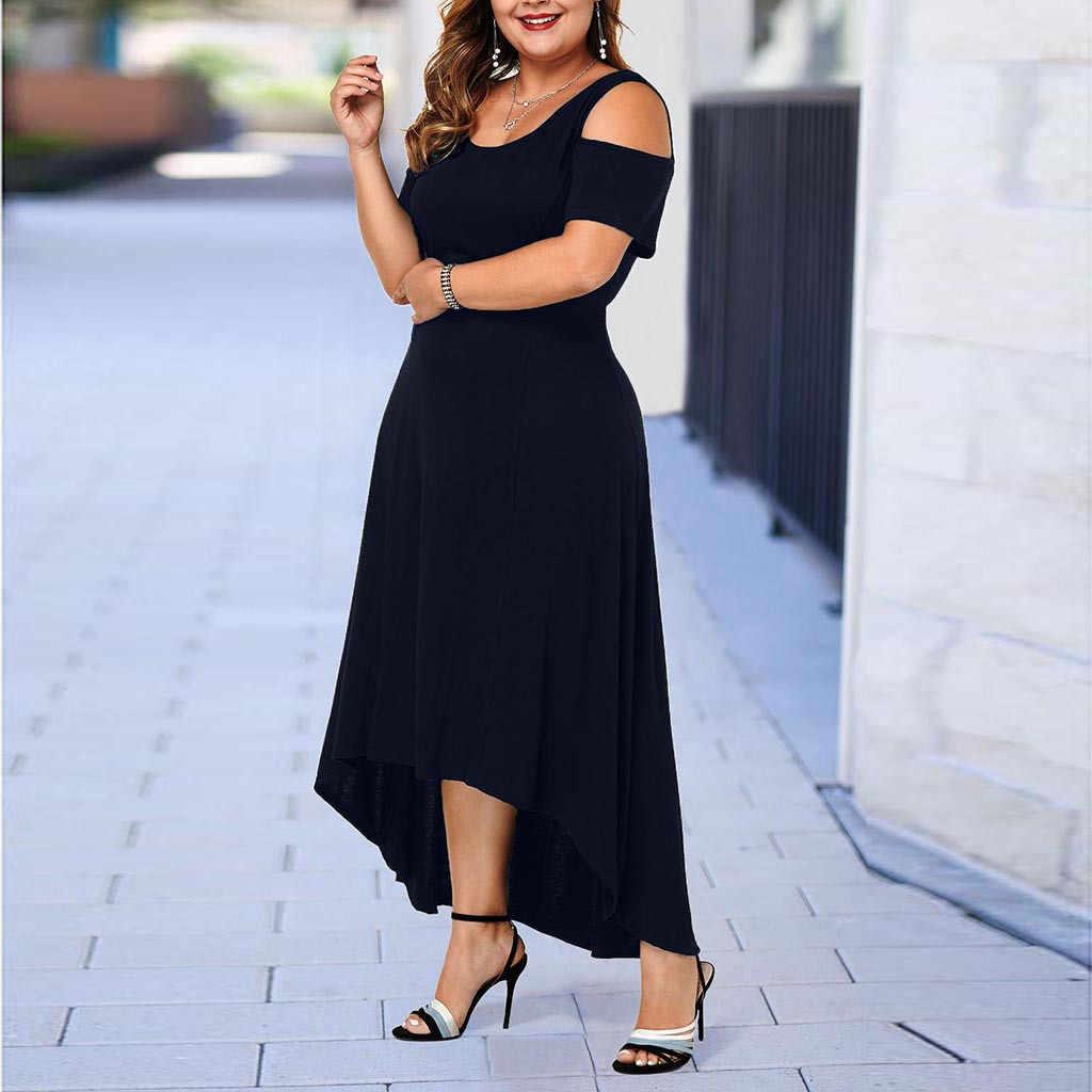 L-5XL 2019 zomer Lange Jurk Vrouwen Grote Omvang Losse Elegante Maxi Jurk Casual Plus Size Vrouwen Kleding Party Floor Lengte jurk