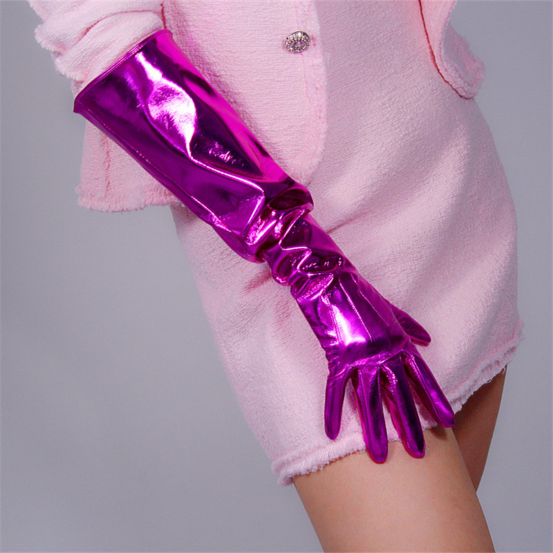 50cm Patent Leather Long Gloves Big Sleeve Lantern Sleeve Emulation Leather Bright Leather Bright Rose Red Female WPU12-50W