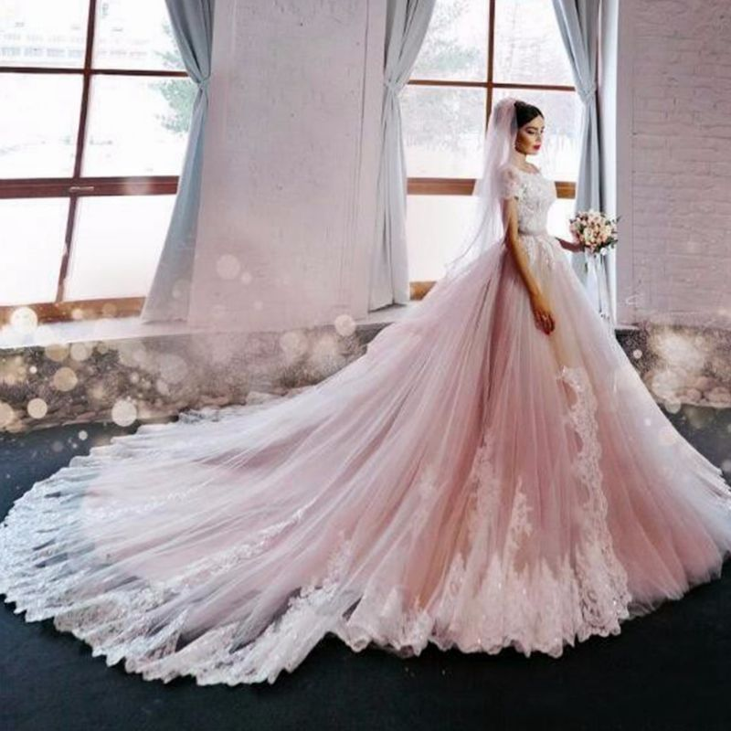 Vestido De Noiva 2017 Designer Blush Tulle Wedding Dress Lace ...