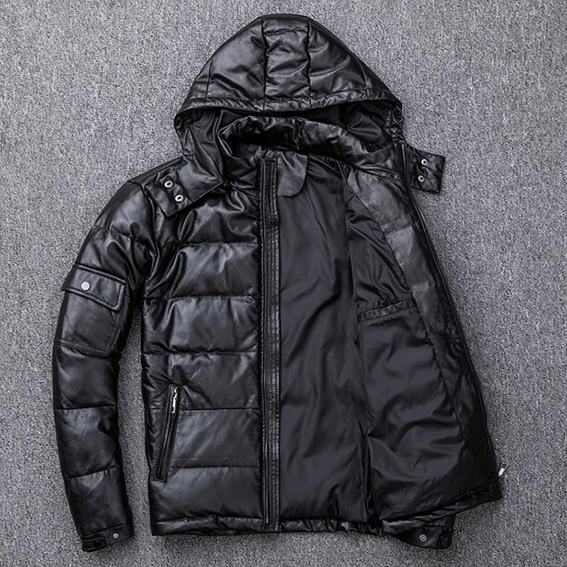 Image 4 - Мужской пуховик MAPLESTEED, из 100% натуральной овчины, со съемным капюшоном, теплая зимняя куртка с капюшоном, M211Кожаные куртки    АлиЭкспресс