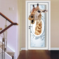 2pcs Set 3D Cute Giraffe DIY Door Art Mural Stickers Self Adhesive Waterproof Wall Sticker Creative