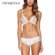 DOMODA 2017 New Fashion Women White Sexy Push Up Lace Adjustable Strap Bralettes Trim Underwear Soft Panties Bra Sets