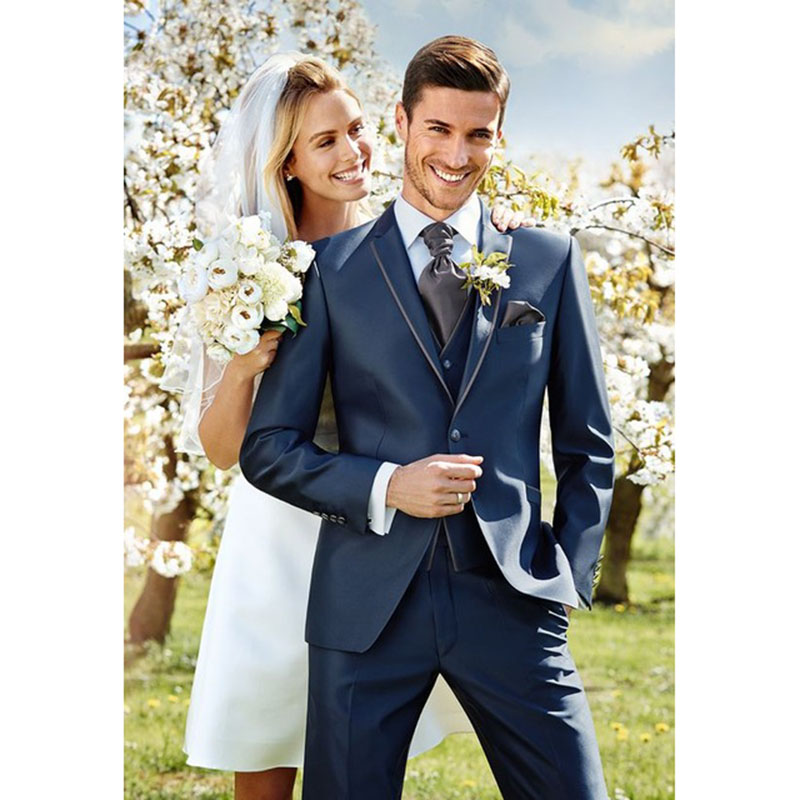 Latest Coat Pant Designs Navy Blue Wedding Men Suits Slim Fit 3 Pieces Groom Tuxedo Custom Blazer 2017 mens suit Terno Masculino
