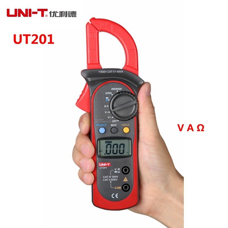 UNI-T UT201 400A 600V Digital Clamp Multimeter LCD Voltage Current Resistance Tester Auto Range uni t ut202a 1 4 lcd digital clamp multimeter red grey 1 x 9v 6f22