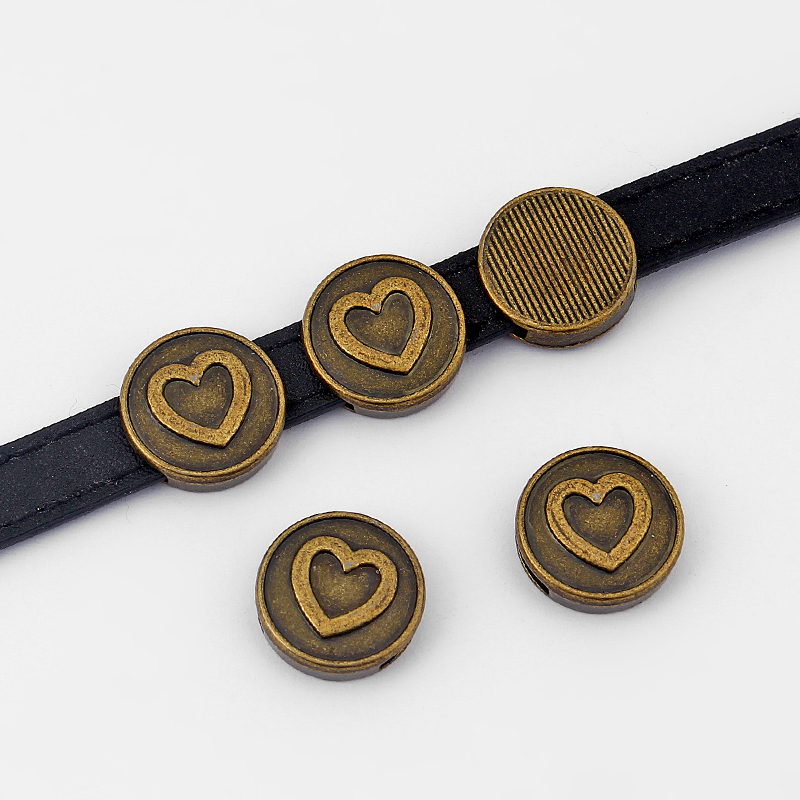 10pcs Antique Bronze Round Heart 11*2mm Slider Spacer Beads For 5mm 10mm Flat Leather Cord DIY Jewellery Makings Findings
