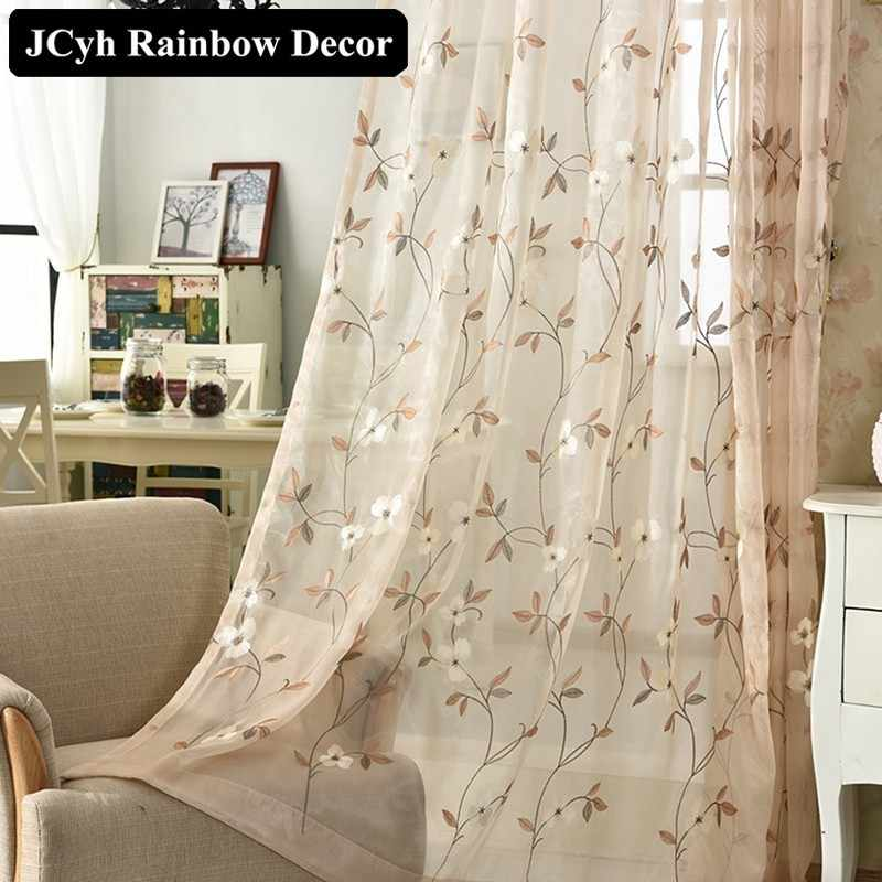European Style Blinds Embroidered Tulle Curtains For Living Room Modern Sheer Window Curtain For Bedroom Kitchen Voile Drapes