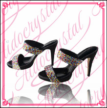 Aidocrystal Large size customized shoes fashion bling rhinestone concise slippers for women