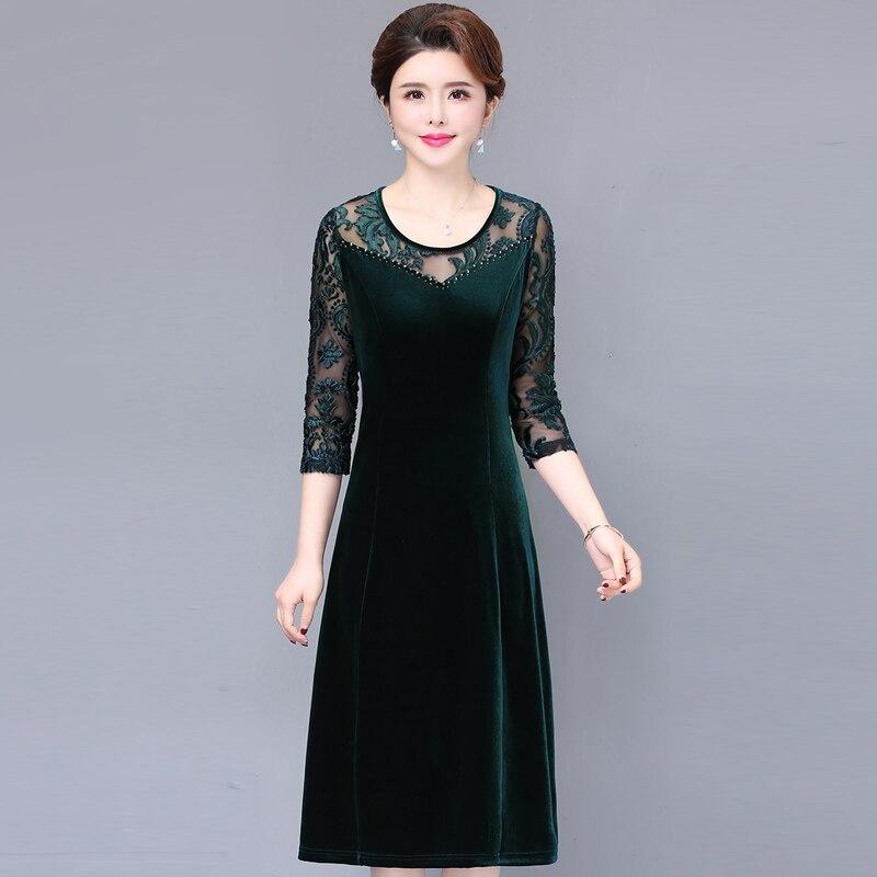 Élégant printemps nouvelle robe en dentelle femmes vert mode o-cou a-ligne robe Vintage lâche grande taille dentelle robe femmes
