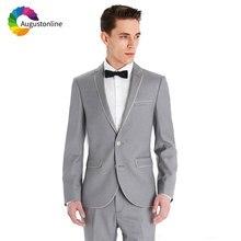 купить Custom Made Formal Grey Men Suit Wedding Suits for Men Slim Fit Groom Tuxedo Best Man Blazer Jacket Pants 2Piece Costume Homme по цене 3385.04 рублей