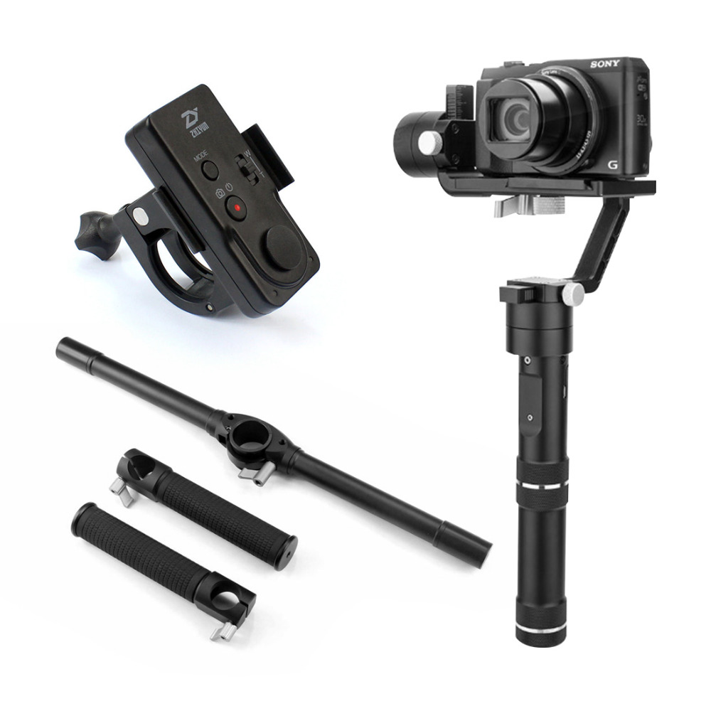 Zhiyun Crane M Stabilizer Gimbal with New Remote and Extended Handle Bar Dual Handheld Grip Bracket Kit for DSLR Camera F19238-B 1pc gimbal camera protector fixed bracket gimbal clamp stabilizer lens cover cap for dji phantom 4 3d printed