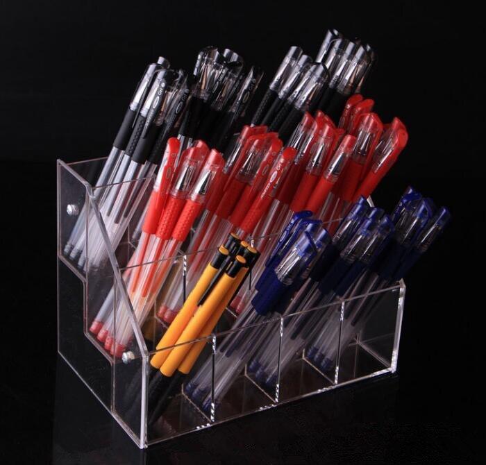 2/3/4 capas de estante de almacenamiento de la pluma transparente acrílico sombra de ojos lápiz titular de pie color lápiz cosméticos lápiz labial nail polish caja de exhibición Estante de baño Sokoltec hw47885wh