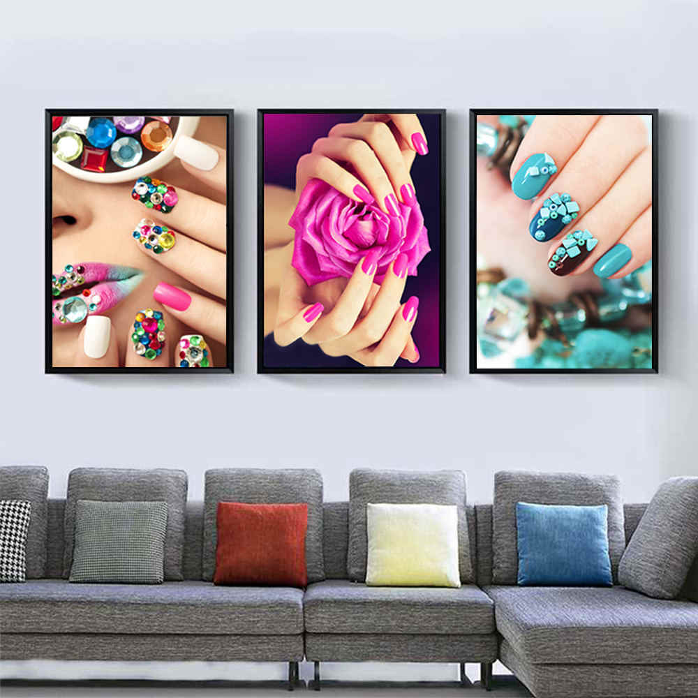 1pc *The new Colorfully Nail Pictures Painting Watercolor Drawing Core Posters Living Room Nailshop Wall Decor Creative Gift