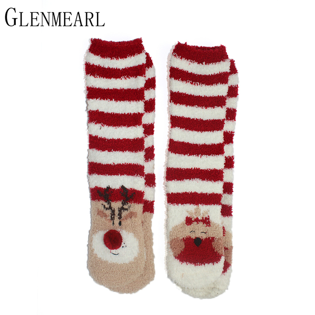 Cute Women Cosy Socks Indoor Cartoon Brand Soft Warm Striped Winter Compression Ladies Home Christmas Santa Claus Socks