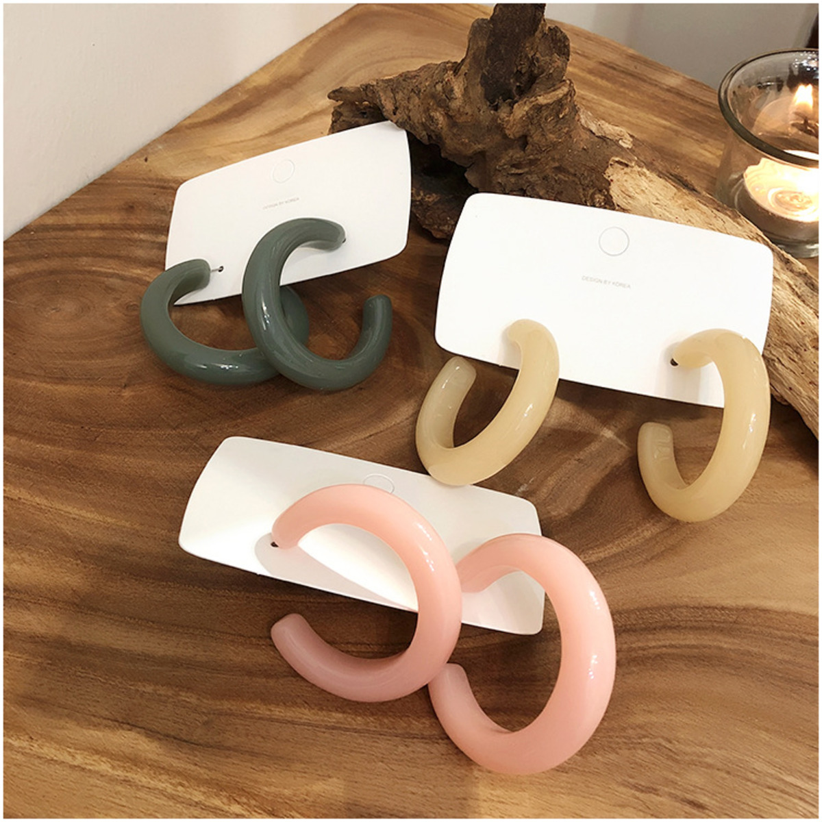 Korea Earrings Acrylic Candy Color C-shaped Big Retro Ear Rings Summer Fashion Female 2019 925sterling Silver
