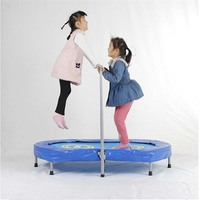 Parent Child Fitness Trampoline Twin Trampoline with Adjustable Handlebar