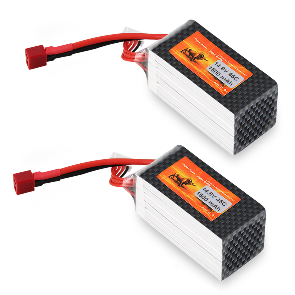 2X <font><b>1500mAh</b></font> 14.8V 45C <font><b>4S</b></font> <font><b>LiPo</b></font> Battery Pack for RC Car Airplane image