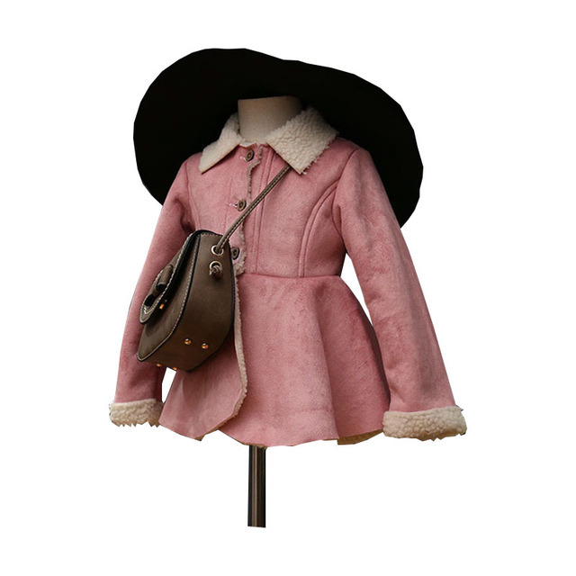 2016 New Winter Fashion Girls Clothes Single-breasted Turn Down Collar Lambswool Outwear Children Thick Pink Jackets&Coats 2-7Y