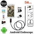 5 M 2em1 HD720p Android USB Inspeção Da Tubulação Câmera Endoscópio 8mm Lens Flexível Cobra USB Android Telefone USB OTG Câmera Borescope