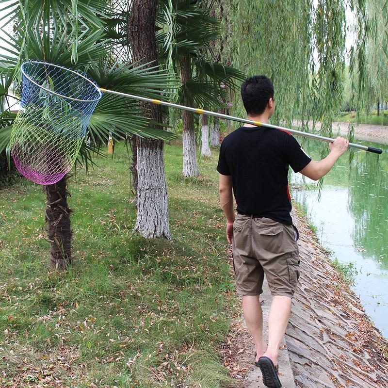 180cm 220cm 250cm 300cm 400cm Folding Fishing Net Retractable Telescoping Aluminum Alloy Pole Super Large Folding Landing Net цена