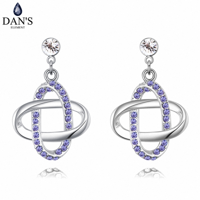 DANS5 Colors Real Austrian crystals Stud earrings for women Earrings s New Sale Hot Round 127959