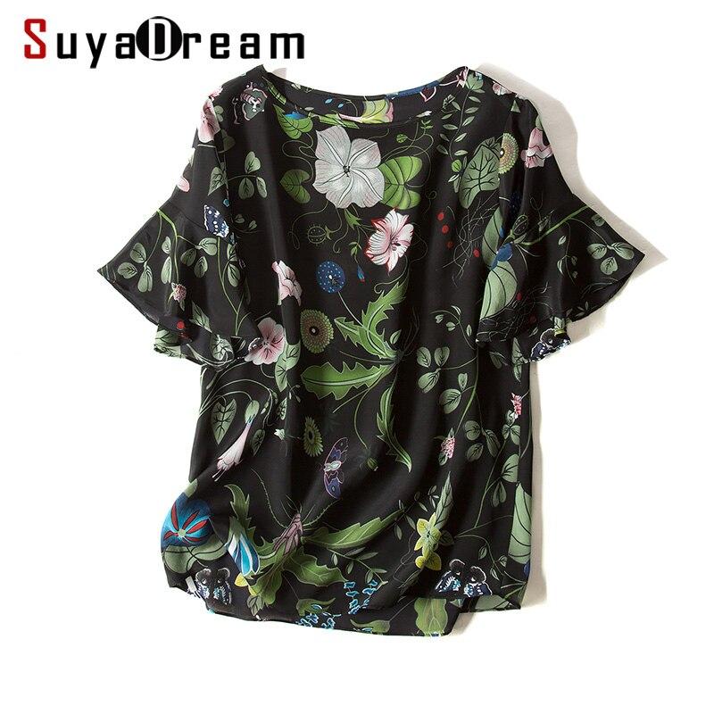 100% réel soie femmes T shirt soie crêpe papillon manches Floral imprimé chemise Blusas femininas 2018 printemps été