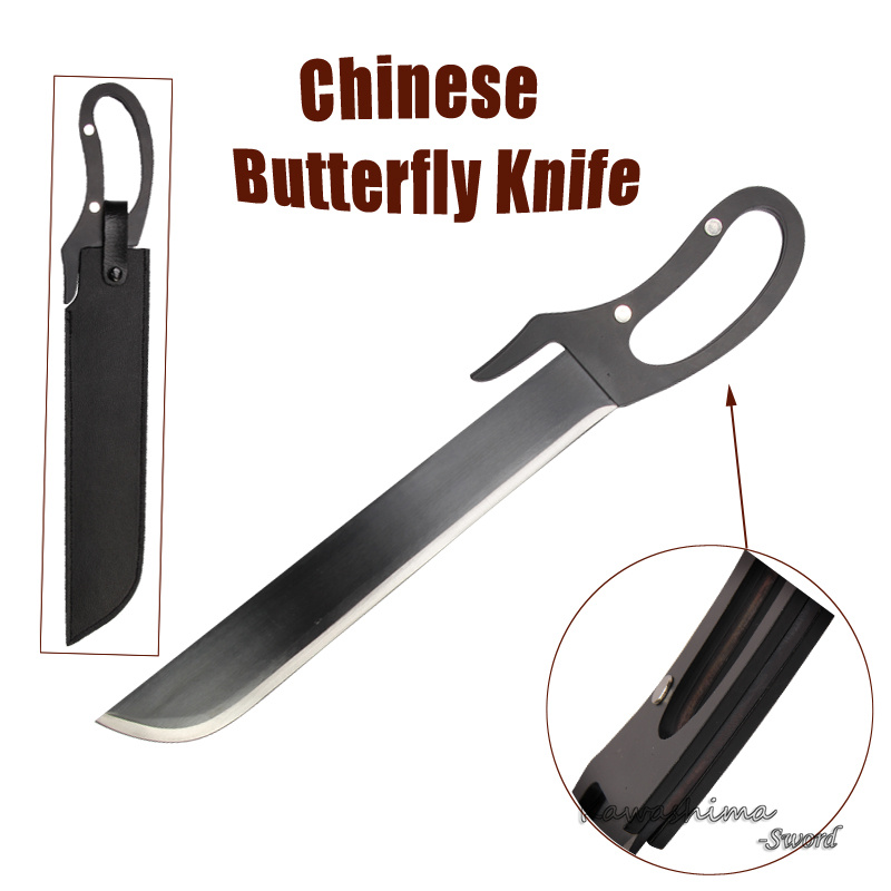 Chinese Kungfu Martial Art Equipment Swords Big Knife Real Steel Blade For Movie Wing Chun No Sharp Black Color In Swords From Home Garden On