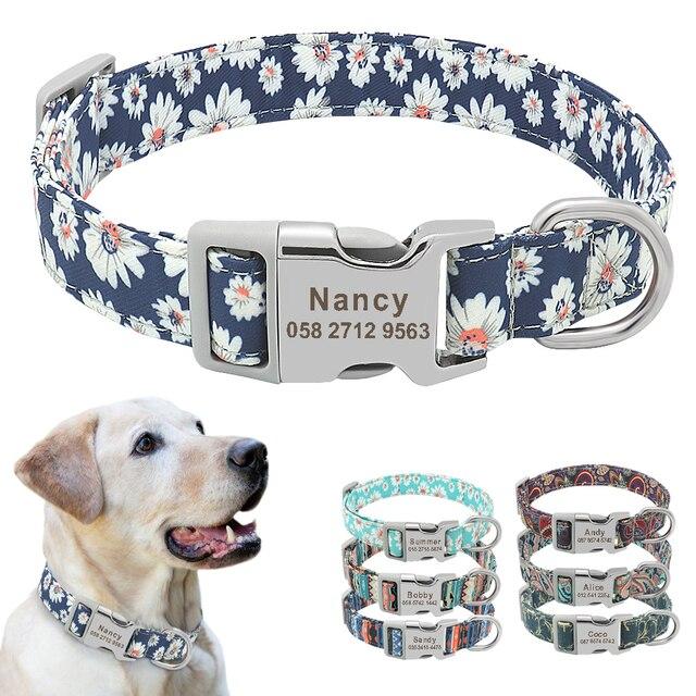 Collar personalizado de nailon para perro, grabado Floral, para cachorro, dibujo de cuello, nombre personalizado, para perros pequeños, medianos y grandes