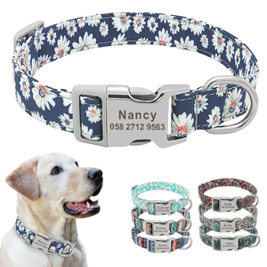 Image 1 - Custom Dog Collar Nylon Floral Engraved Pet Puppy Collar Print Personalized Name Collars for Small Medium Large Dogs Pitbull