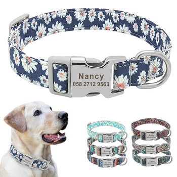 Custom Dog Collar Nylon Floral Engraved Pet Puppy Collar Print Personalized Name Collars for Small Medium Large Dogs Pitbull custom dog collar personalzied nylon pet dog id tag collars engraved printed puppy collar leash for small medium large dogs