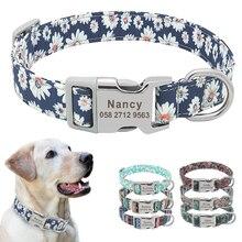 Custom Halsband Nylon Bloemen Gegraveerde Pet Puppy Kraag Print Gepersonaliseerde Naam Halsbanden Voor Kleine Medium Grote Honden Pitbull