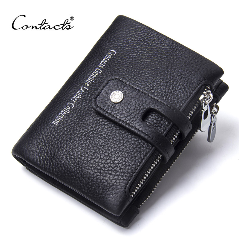 CONTACT'S 2019 New Arrival Genuine Leather Men's Wallet For Men Small Zipper Organizer Wallets Cash Carteira For Man Coin Purses 3
