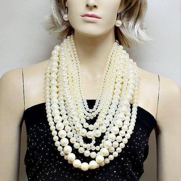 Мода преувеличены многослойные цепи большой жемчужное ожерелье женщины холтер люкс длинное ожерелье банкетный партии ювелирных дамы