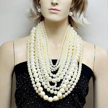 Moda exagerado collar de cadena de múltiples capas de perla grande halter de las mujeres de lujo de largo banquete collar joyería del partido de las señoras