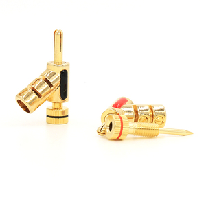 Image 5 - 4 pcs bloqueio banhado a ouro banana conector speaker plugue do cabo