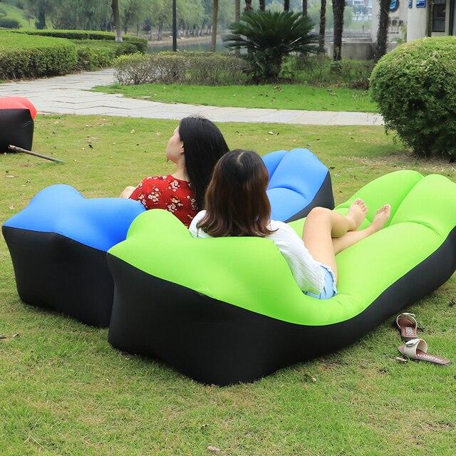Fast Inflatable Sofa Air Sleep Camping Mat Bed Beach Banana Sleeping Bags Lazy