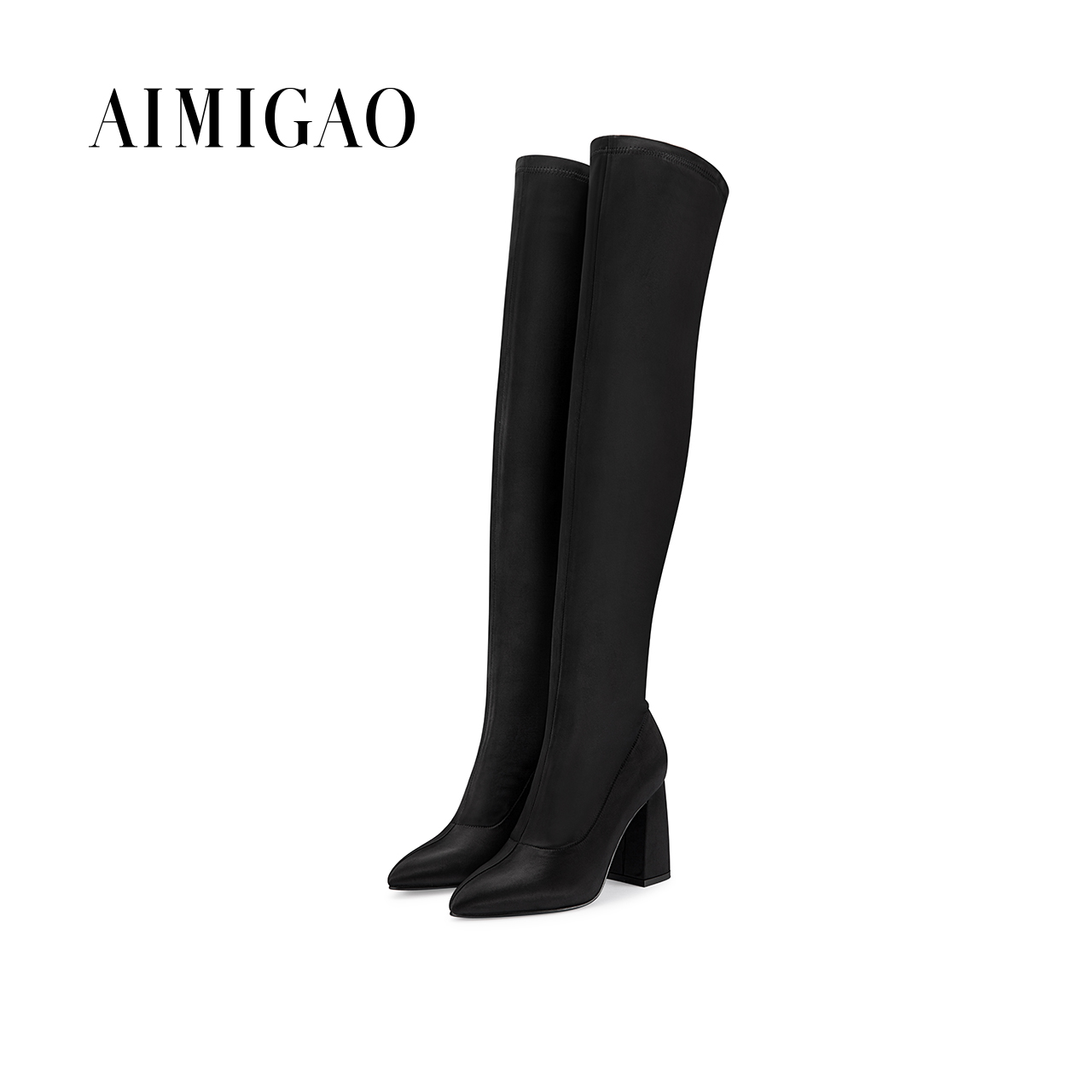 AIMIGAO fashion high boots pointed 2017 autumn new comfortable thick heel women boots Silk stretch slim fit sexy over knee boots qiu dong in fashionable boots sexy and comfortable women s shoes the new national style high heel heel thick heel