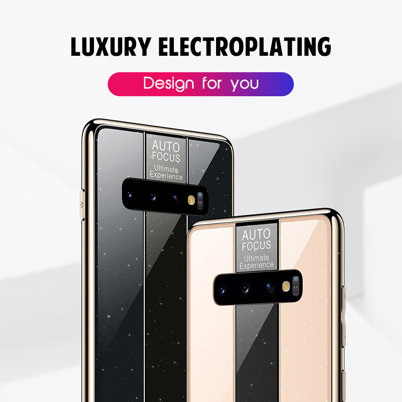 Luxury Plating Glass Case For Samsung Galaxy S10 S10e S9 S8 Plus Ultra Thin Silicone Soft Protection Cover For Samsung Note 9 8 in Fitted Cases from Cellphones Telecommunications