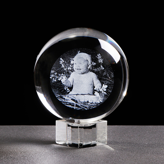 Glass Photo Ball Personalized Crystal Sphere Lase Engraving Customized Globe Home Decor Accessories Baby Photo Glass Sphere 2