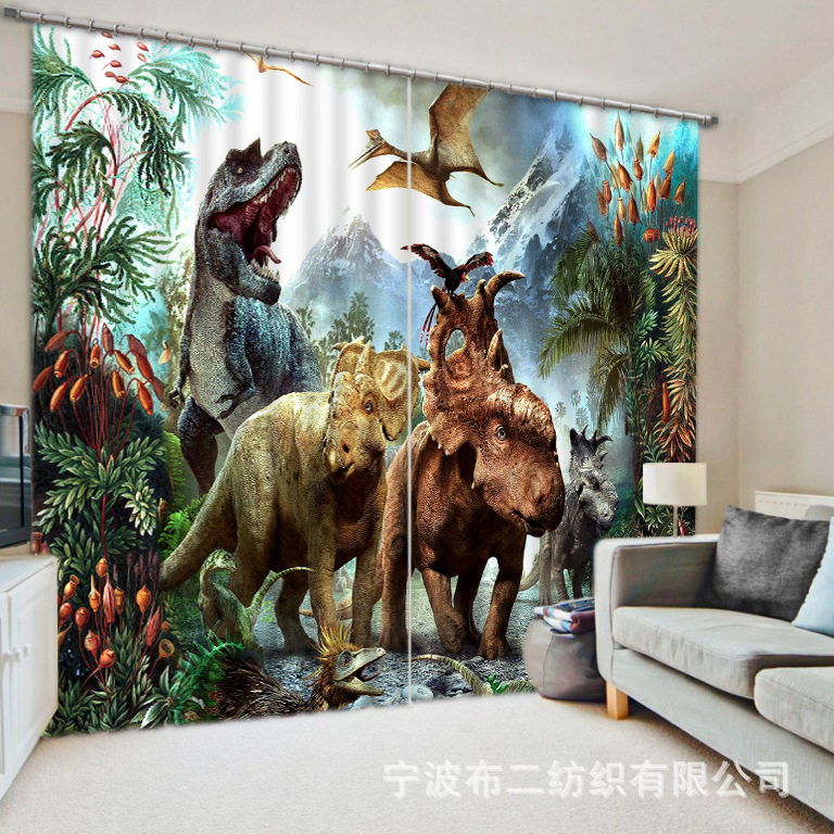 2017 Modern Dinosaur Luxury 3D Blackout Window Curtains for <font><b>kids</b></font> For Bedding room Living room Hotel Drapes Cortinas Para