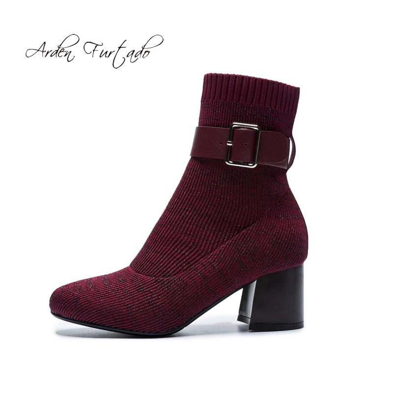 33 Zapatos burgundy Invierno Mujer 2018 Furtado Otoño 40 Deslizamiento  Botines En Moda Black Cm Botas Talones ... 37f2f9034f239