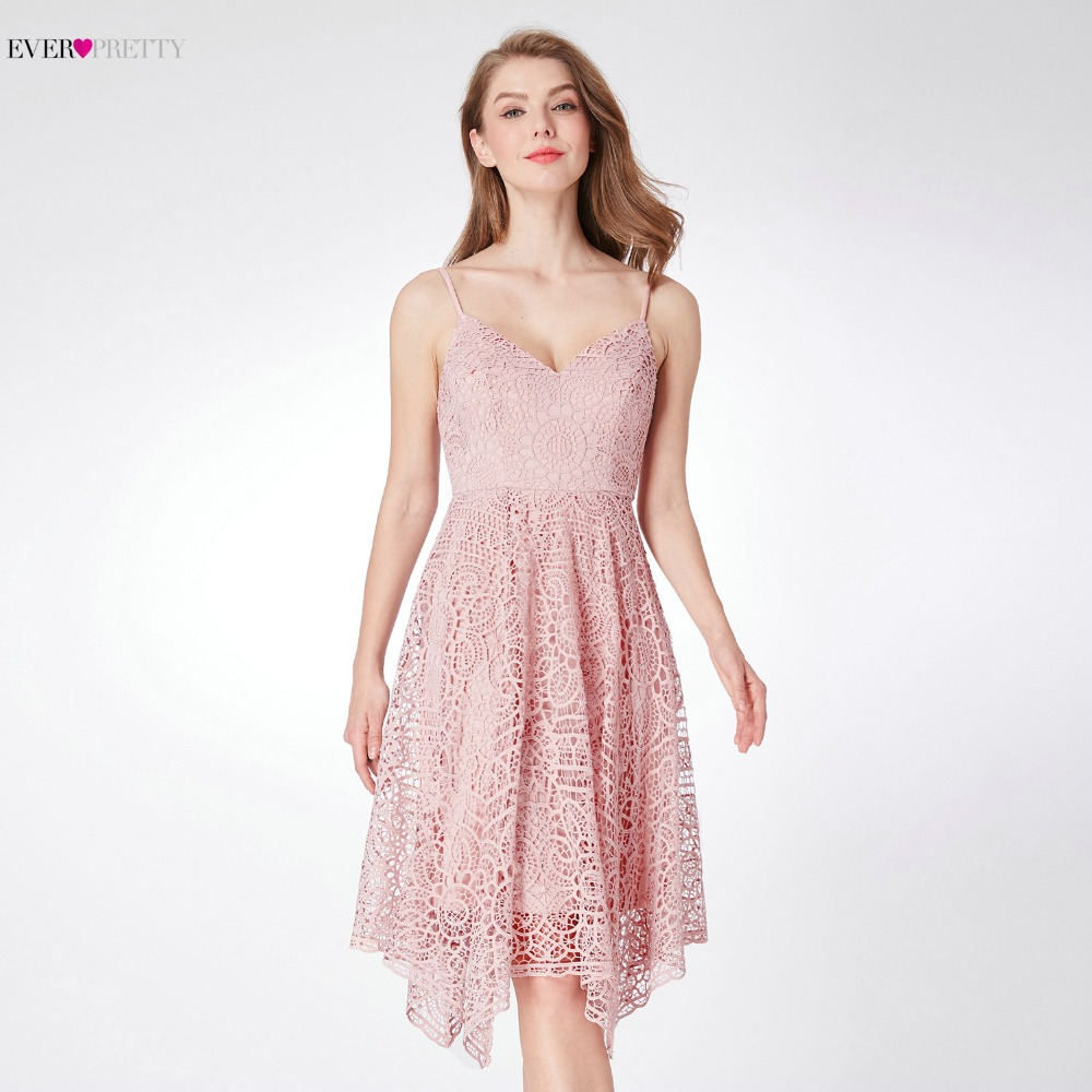 Ever-Pretty Women Elegant Sexy Evening Dresses A-Line Sleeveless Lace Spaghetti Strap Backless Pink Party Evening Dress EP04036
